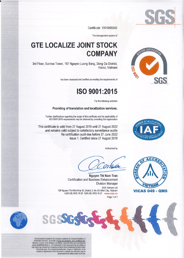 ISO9001 2015 GTE Localize 001